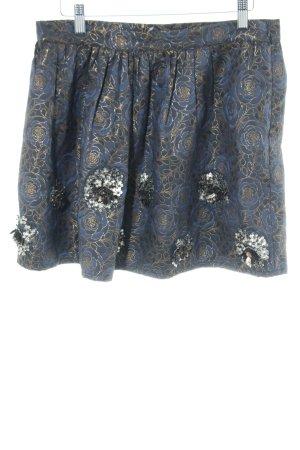 Zara Basic Minirock blau-goldfarben Blumenmuster Elegant
