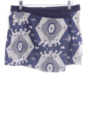 Zara Basic Minirock dunkelblau-wollweiß abstraktes Muster Casual-Look