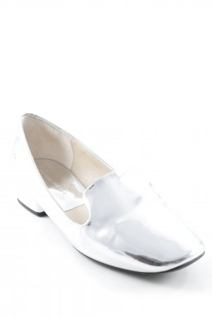 Zara Basic Moccasins silver-colored wet-look