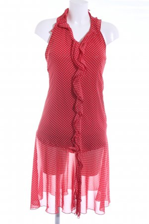 Zara Basic Neckholderkleid rot-weiß Punktemuster Casual-Look
