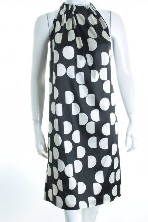 Zara Basic Vestido de cuello Halter negro-crema estampado a lunares