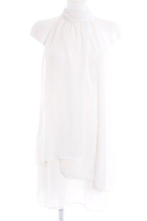 Zara Basic Vestido de cuello Halter blanco puro elegante