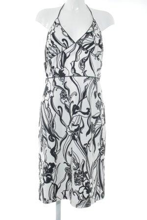 Zara Basic Neckholderkleid wollweiß-schwarz florales Muster Beach-Look