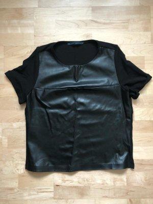 Zara Basic Oberteil Lederimitat Bluse
