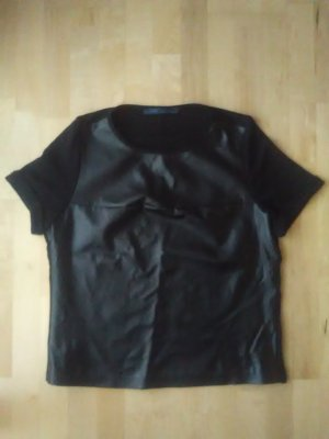 Zara Blusa de cuero negro Imitación de cuero