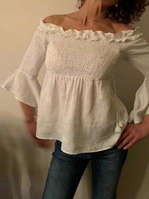 Zara Basic Camisa tipo Carmen blanco