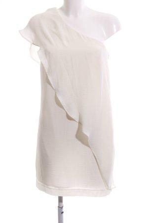 Zara Basic Vestido de un hombro crema elegante