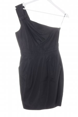 Zara Basic One-Shoulder-Kleid schwarz Schimmer-Optik