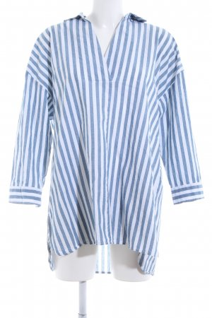 Zara Basic Oversized Blouse slate-gray-white striped pattern casual look