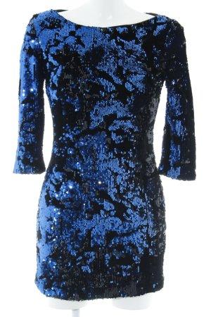 Zara Basic Pailettenkleid schwarz-blau abstraktes Muster Glitzer-Optik