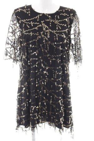 Zara Basic Pailettenkleid schwarz-goldfarben Casual-Look