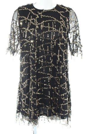 Zara Basic Vestido de lentejuelas negro-color oro elegante