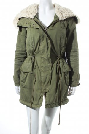 Zara Basic Parka khaki-wollweiß Military-Look