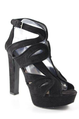 Zara Basic Plateau-Pumps schwarz Ornamentenmuster Elegant
