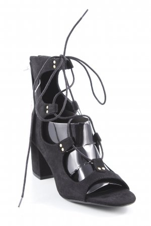 Zara Basic Plateau-Sandaletten schwarz Casual-Look