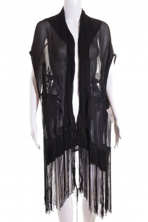 Zara Basic Poncho nero Stampa a tema stile da moda di strada