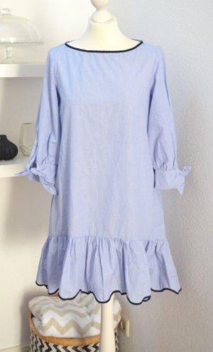 Zara Basic Popelin Kleid Gestreift mit Volant - NEU mit Etikette