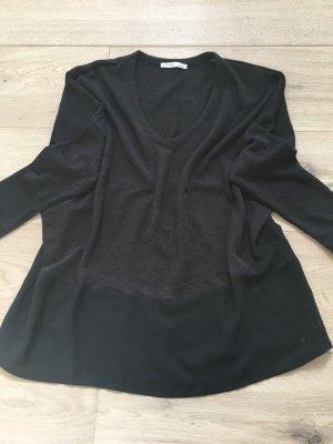 Zara Basic Pullover schwarz Materialmix V-Ausschnitt Gr. S