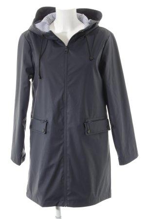 Zara Basic Manteau de pluie bleu foncé-blanc style décontracté