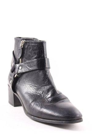 Zara Basic Reißverschluss-Stiefeletten schwarz Ringelemente