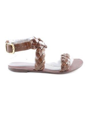 Zara Basic Riemchen-Sandalen braun Casual-Look