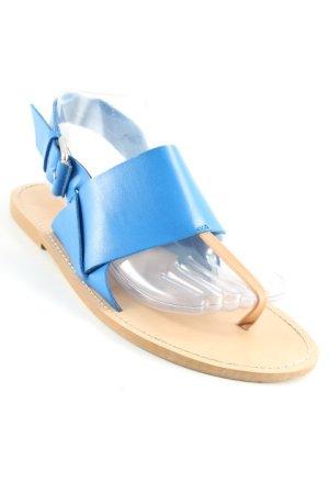 Zara Basic Riemchen-Sandalen nude-neonblau Bleached-Optik