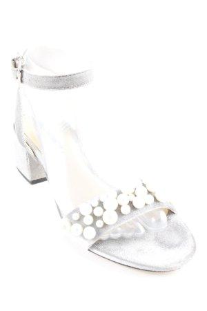 Zara Basic Riemchen-Sandaletten silberfarben Elegant