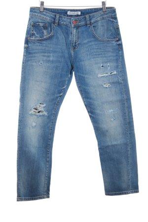 Zara Basic Röhrenjeans blau-weiß Casual-Look