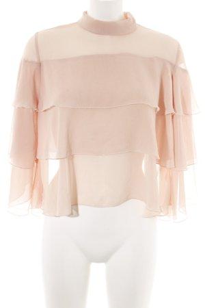 Zara Basic Blouse à volants rose chair élégant