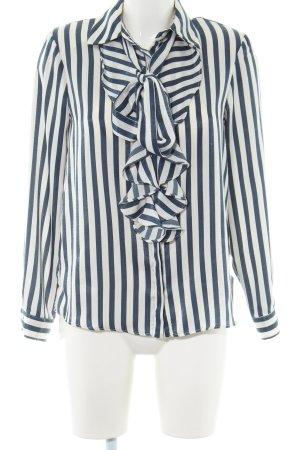 Zara Basic Ruche blouse wit-blauw gestreept patroon zakelijke stijl