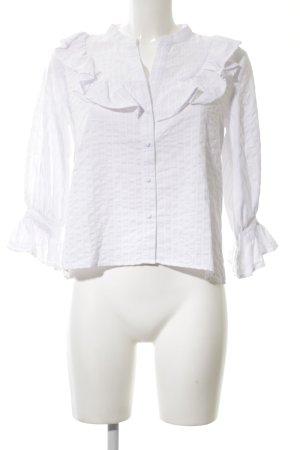 Zara Basic Rüschen-Bluse weiß Elegant
