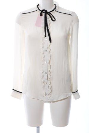 Zara Basic Ruche blouse wolwit-zwart elegant