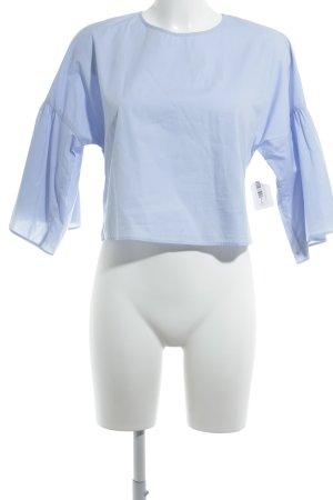 Zara Basic Ruche blouse babyblauw romantische stijl