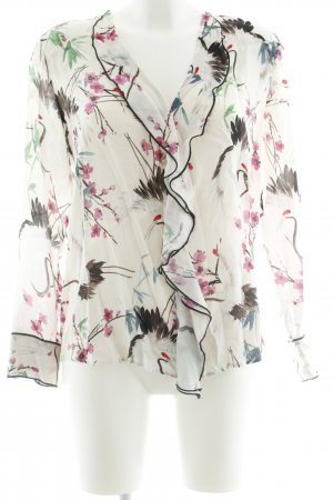 Zara Basic Rüschen-Bluse florales Muster Casual-Look