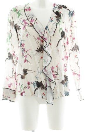 Zara Basic Ruffled Blouse floral pattern casual look