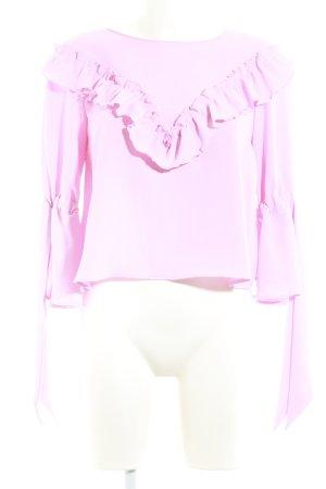 Zara Basic Rüschen-Bluse rosa Casual-Look