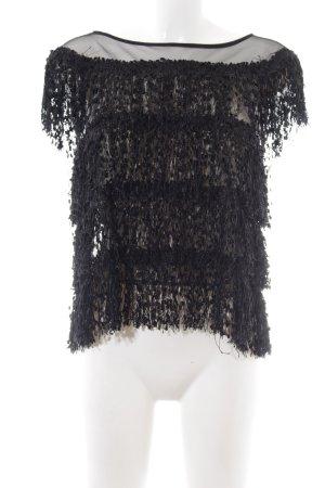 Zara Basic Top met franjes zwart elegant