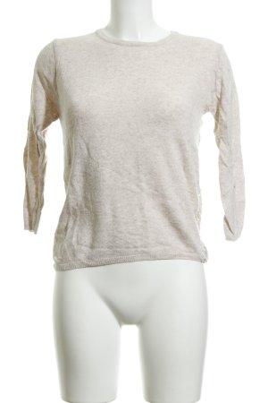 Zara Basic Rundhalspullover creme Casual-Look