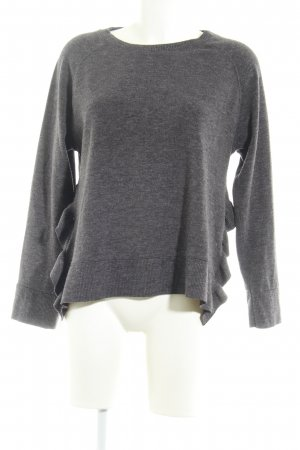 Zara Basic Rundhalspullover grau Casual-Look