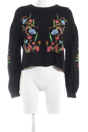 Zara Basic Rundhalspullover schwarz-dunkelorange Casual-Look