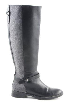 Zara Basic Jackboots black-grey color blocking rider style