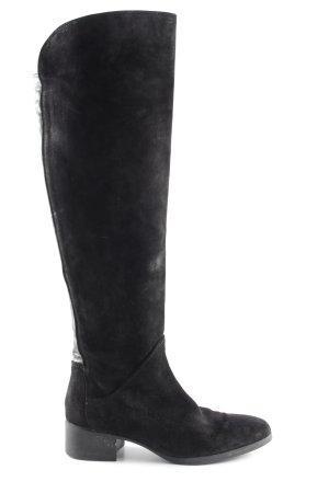 Zara Basic Botas estilo militar negro Apariencia de mezcla de materiales