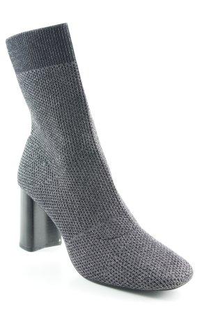 Zara Basic Schlüpf-Stiefeletten schwarz-silberfarben Elegant