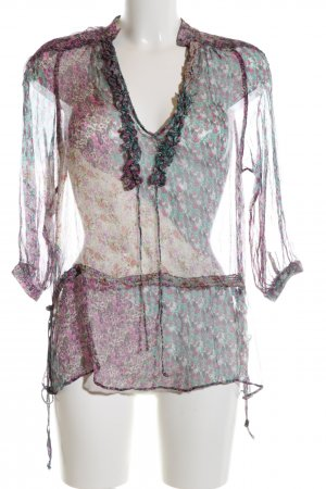 Zara Basic Schlupf-Bluse türkis-lila Blumenmuster Elegant