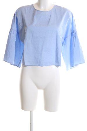 Zara Basic Schlupf-Bluse blau Casual-Look