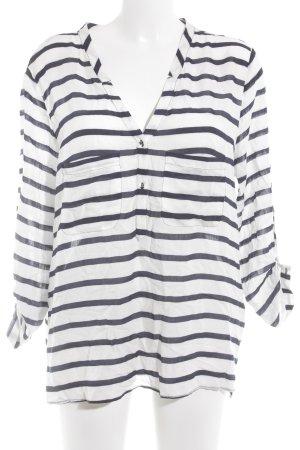 Zara Basic Schlupf-Bluse weiß-dunkelblau Streifenmuster Casual-Look
