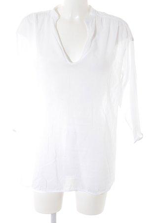 Zara Basic Schlupf-Bluse weiß Ornamentenmuster 70ies-Stil