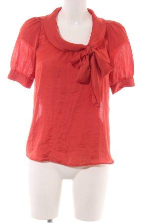 Zara Basic Blusa collo a cravatta rosso elegante