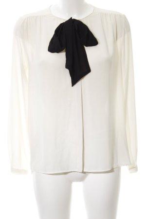 Zara Basic Blusa collo a cravatta bianco-nero stile professionale