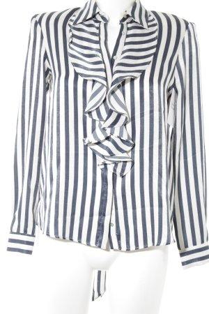 Zara Basic Schluppen-Bluse dunkelblau-weiß Streifenmuster Business-Look